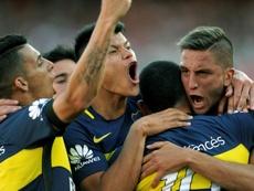 La joie des joueurs de Boca Juniors après le 2e but de Carlos Tevez contre River Plate, le 11 décembre 2016 au Monumental