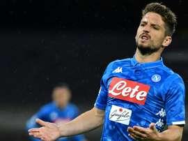 L'attaquant de Naples Driez Mertens lors de la réception de Cagliari. AFP
