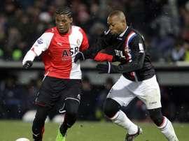 Le milieu de Willem II Ibrahim Kargbo, lors d'un match d'Eredivisie contre le Feyenoord. AFP
