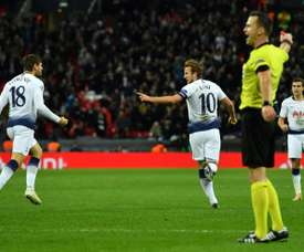 Harry Kane led his Spurs side to a 2-1 win. AFP