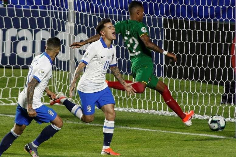 Le Brésilien Coutinho célèbre son deuxième but face à la Bolivie lors de la Copa América. AFP