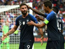 Giroud volleyed home the winner for France. AFP