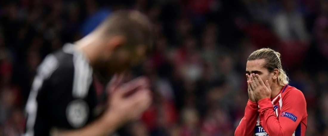 Antoine Griezmann après une occasion manquée face à Qarabag. AFP