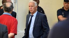 Girard (c), alors entraîneur de Nantes, lors des obsèques du président de Montpellier Louis Nicollin
