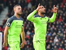 Le milieu Emre Can (d) inscrit le 3e but pour Liverpool face à Bournemouth, le 4 décembre 2016 à Bournemouth