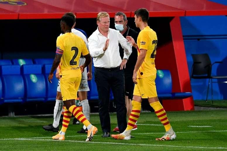 Koeman no escatimó en elogios a los suyos tras ganar en Vigo. AFP/Archivo