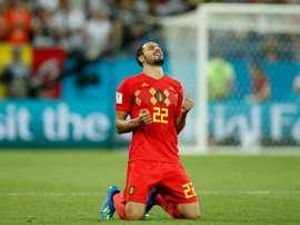 Nacer Chadli lo tiene claro, es por su seleccionador por lo que Bélgica está en semifinales. AFP