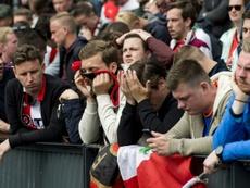 La déception des supporters de Feyenoord lors du derby perdu face à l'Excelsior. AFP