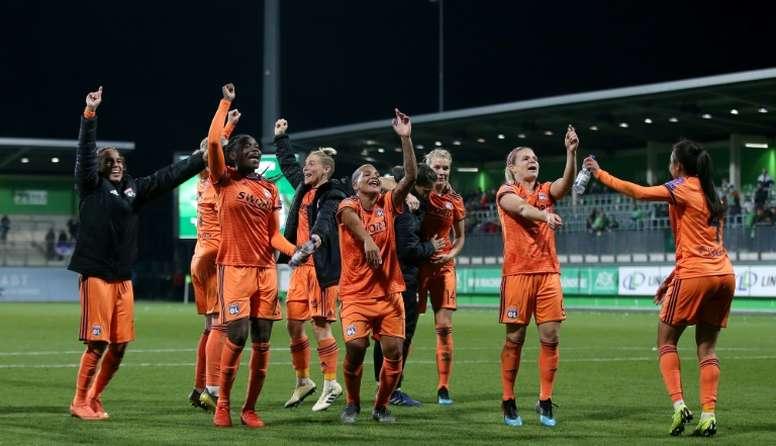 La joie des lyonnaises après avoir éliminé Wolfsburg en quart de finale de C1. AFP