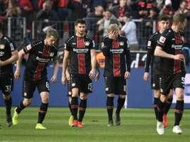 Les joueurs de Leverkusen mènent 6-1 à la mi-temps. AFP