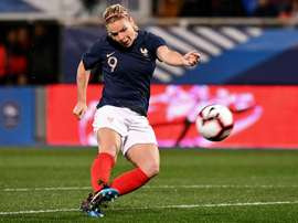 Eugénie Le Sommer, lors d'un match amical face au Japon. AFP