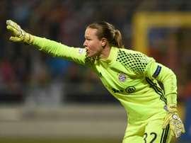 La gardienne de but Riikka du Bayern Munich au cours du quart de finale aller en C1 face au PSG. AFP