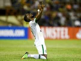 Luiz Antonio du club brésilien de Chapecoense célèbre son but. AFP