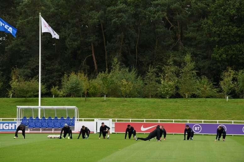 L'équipe d'Angleterre à l'entraînement à St Georges Park à Burton-on-Trent. AFP