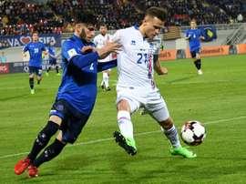 L'Islandais Arnor Ingvi Traustason lors d'un match de qualification pour le Mondial. AFP