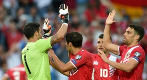 The Gibraltarian team earned their first ever victory in the match. AFP