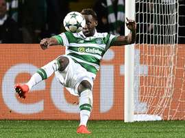 L'attaquant du Celtic, Moussa Dembélé, inscrit son 2e but personnel contre Manchester City. AFP