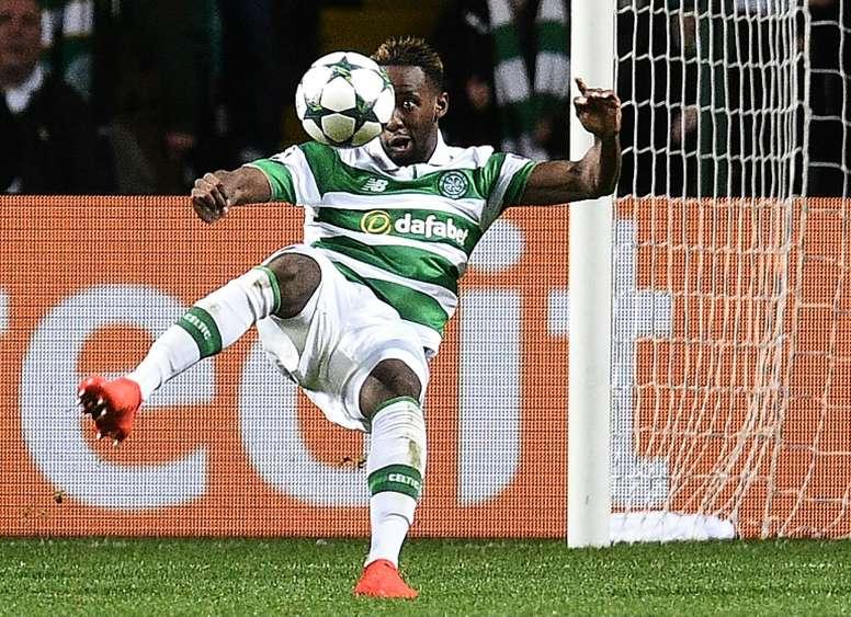 L'attaquant du Celtic, Moussa Dembélé, inscrit son 2e but personnel contre Manchester City. AFP