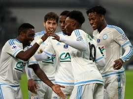 La joie des Marseillais, vainqueurs de Montpellier en 16e de finale de la Coupe de France au Vélodrome, le 20 janvier 2016