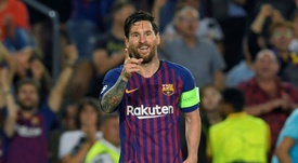 Messi aumentó su récord de 'hat tricks' en Champions. AFP