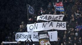 Banderole des supporteurs du PSG hostile à Adrien Rabiot. AFP