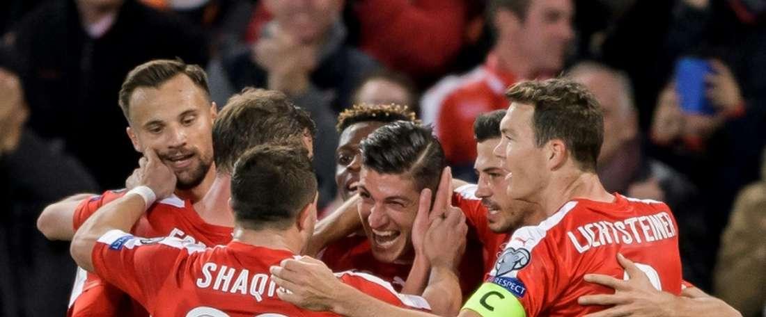 A Suíça venceu a Hungria por 5-2. AFP