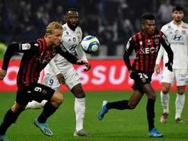 Les compos officielles du match de Ligue 1 entre Nice et Lyon. AFP