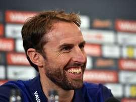 Le sélectionneur de l'Angleterre Southgate en conférence de presse à Londres, le 7 octobre 2016. AFP