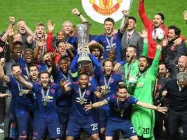 L'équipe de Manchester United victorieuse de l'Europa League aux dépens de l'Ajax Amsterdam. AFP