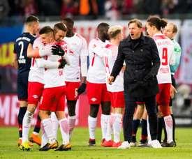 El Leipzig se ha llevado el triunfo en Hannover. AFP/Archivo