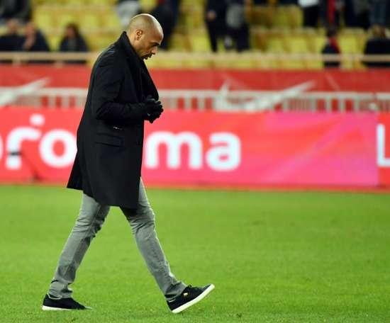 Thierry Henry après la défaite de Monaco face à Strasbourg le 19 janvier au stade Louis-II. AFP