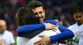Motta was honoured by his teammates. AFP