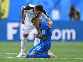 Oviedo had a word with Neymar during the game. AFP