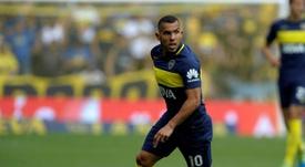 Carlos Tevez, sous le maillot de Boca Juniors, contre Sarmiento. AFP