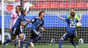 L'attaquant japonaise Mana Iwabuchi exulte. AFP