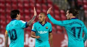 Braithwaite ha segnato il primo goal con il Barcellona. AFP