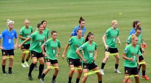 L'équipe d'Australie à lentraînement, à Sydney. AFP