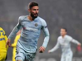 Giroud unique buteur du match opposant Chelsea au FC Borisov. AFP