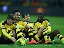 La joie des joueurs du Borussia Dortmund après leur victoire face à Hoffenheim, le 28 février 2016 à Dortmund