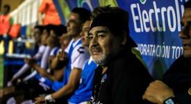 Diego Maradona, lors du match de la Liga de Ascenso face au CF Mérida. AFP