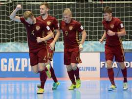L'équipe russe victorieuse de l'Iran, en demi-final du Mondial de futsal à Medellin. AFP