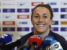 La joueuse de l'Angleterre Lucy Bronze en conférence de presse à Lyon le 1er juillet 2019. AFP
