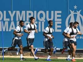 Les joueurs de l'OM lors d'une séance d'entraînement au centre d'entraînement. AFP