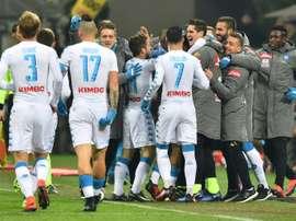 Les joueurs du Napoli victorieux de l'AC Milan en championnat, le 21 janvier 2017. AFP
