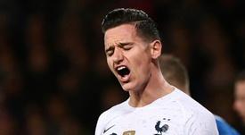 Lattaquant français Florian Thauvin contre l'Islande en amical. AFP