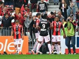 Plea and Balotelli both scored in Nice's 4-0 thrashing of Monaco on Saturday. AFP