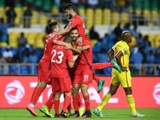 La joie des Tunisiens après un but contre le Zimbabwe lors de la CAN, le 23 janvier 2017. AFP