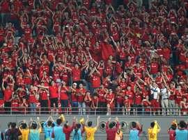 Supporteurs chinois lors du match de qualification au Mondial-2018 face au Qatar. AFP
