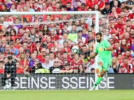 Le gardien brésilien de Liverpool Alisson lors du match amical face à Naples. AFP