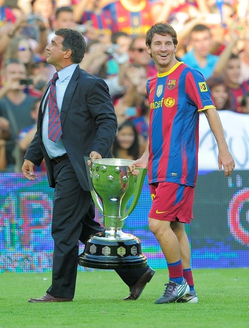 Laporta falou sobre o futuro de Messi. AFP